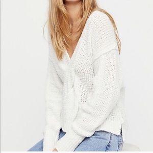 Free People 'Coco' V-neck White sweater XXS 2191